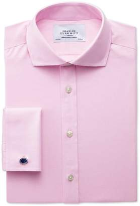 Charles Tyrwhitt Classic Fit Spread Collar Non-Iron Twill Pink Cotton Dress Shirt French Cuff Size 15/35