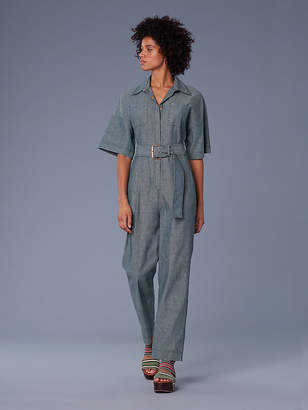 Diane von Furstenberg Short-Sleeve Pocket Denim Jumpsuit