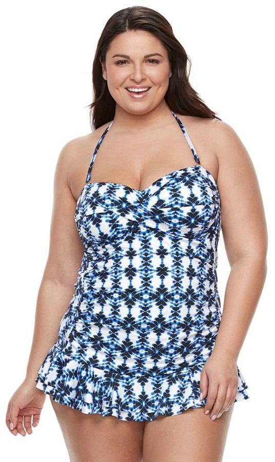 Apt. 9Plus Size Apt. 9® Print Twist-Front Swimdress