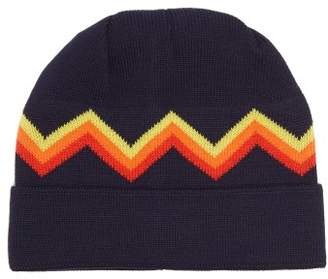 Perfect Moment - Zigzag Intarsia Wool Blend Beanie Hat - Womens - Navy Multi
