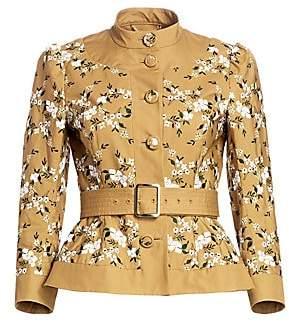 Erdem Women's Lorianne Floral Embroidered Belted Peplum Jacket