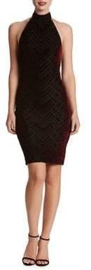 Dress the Population Halterneck Sheath Velvet Dress