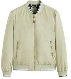 MANGO Contrast striped varsity jacket
