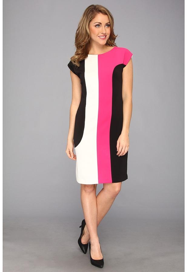 Anne Klein Color Blocked Compact Knit Shift Dress Women's Dress