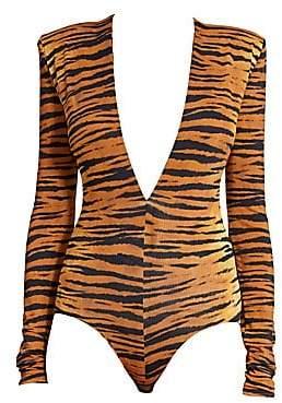 Alexandre Vauthier Women's Tiger Print Long-Sleeve Structure Bodysuit