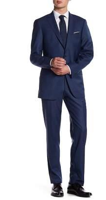 Hart Schaffner Marx Dark Blue Two Button Notch Lapel Wool New York Fit Suit