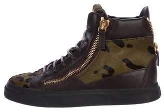 Giuseppe Zanotti Leopard Ponyhair Sneakers