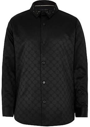 River Island RI 30 boys black jacquard RI shirt