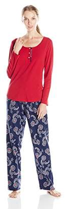 Lucky Brand Women's Contrast Placket Flannel Pajama