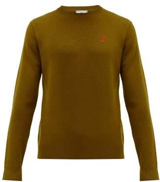 Ami Logo Appliqued Merino Wool Sweater - Mens - Bronze