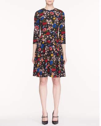 Erdem Dione Jewel-Neck 3/4-Sleeve Fluted-Skirt Lismore Garden-Print Ponte Jersey Dress