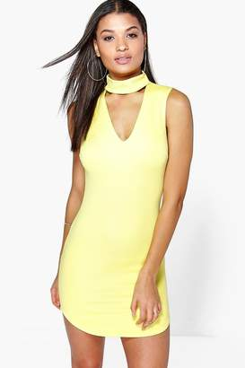 boohoo Khloe Cut Out Front Textured Bodycon Dress
