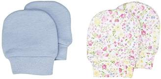 Mothercare Blue And Floral Scratch Mitts - 2 Pack, Multi, (Manufacturer Size:1)