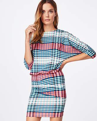Nicole Miller Optic Stripe Blouson Dress