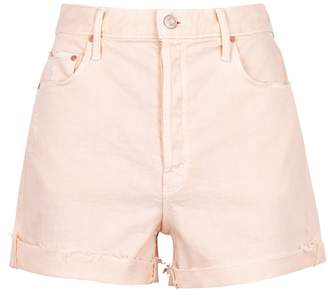 Mother The Improper Fray Peach Denim Shorts