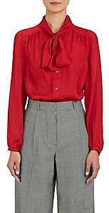 Barneys New York Women's Silk Tieneck Blouse - Red