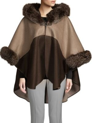 Made For Generation Two-Tone Fox Fur-Trimmed Hooded Cape