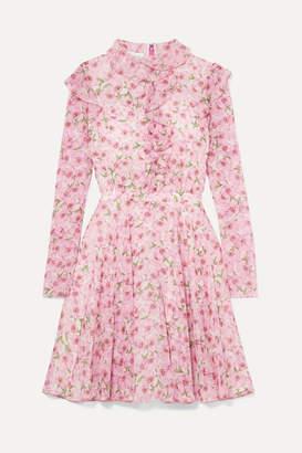 Giambattista Valli Ruffled Floral-print Silk-georgette Mini Dress - Pink