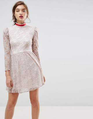 Asos DESIGN Lace Puff Sleeve Mini Dress with Ribbon Neck