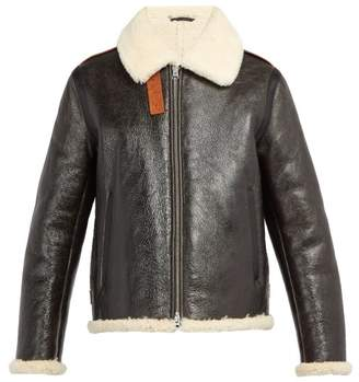 Acne Studios Shearling And Leather Aviator Jacket - Mens - Brown