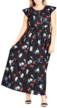 City Chic Plus Spring Garden Maxi Dress
