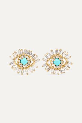 Suzanne Kalan 18-karat Gold, Turquoise And Diamond Earrings