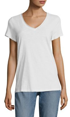 Eileen Fisher Slub Cotton Jersey V-Neck Tee $68 thestylecure.com