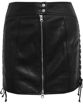 McQ Lace-up Leather Mini Skirt - Black