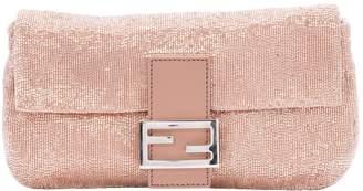 Fendi Pink Suede Clutch Bag