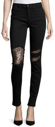 Joe's Jeans The Charlie High-Rise Skinny Jeans w/Lace, Black $198 thestylecure.com