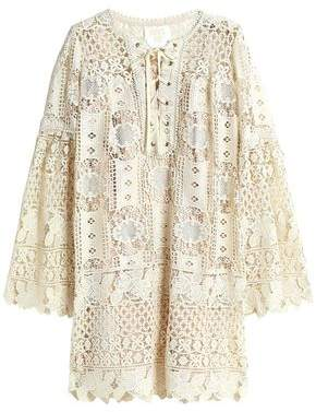 Anna Sui Lace-Up Guipure Lace Mini Dress