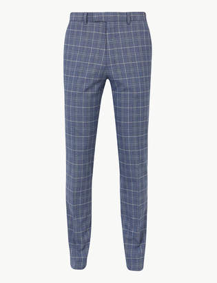 Marks and Spencer Blue Checked Skinny Fit Trousers