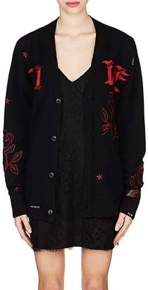 "Amiri Women's ""Live"" Rose-Embroidered Cashmere Cardigan"