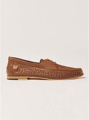 Topman Mens Brown Tan Leather Weave Mantis Lace Shoes