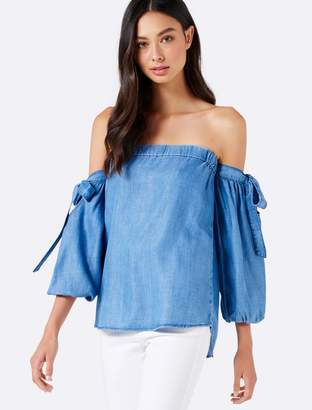 Forever New Cleo Off Shoulder Balloon SleeveTop - Mid Purple Wash - 4