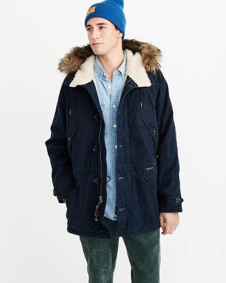 Abercrombie & Fitch Sherpa-Lined Cotton Parka