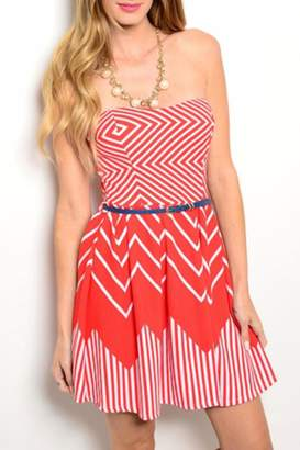LAC Bleu Red Skater Dress