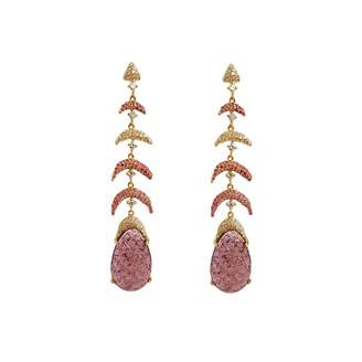 Ri Noor - Carved Tourmaline Earrings