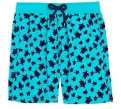 Vilebrequin Little Boy's& Boy's Micro Turtles Flocked Swim Shorts - Blue - Size 14