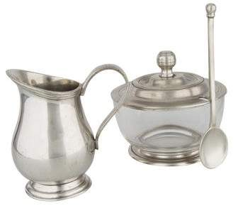 Marinoni Pewter Cream & Sugar Set with Spoon