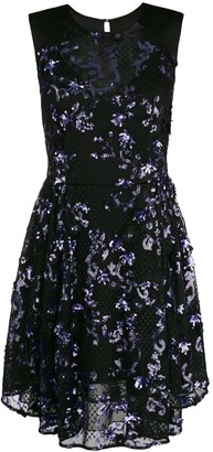 Three floor sequins embellished flared dress