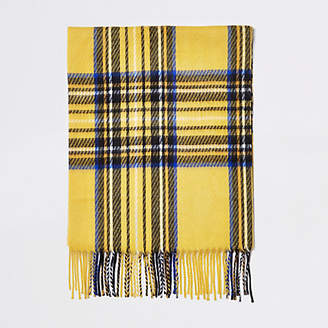 River Island Womens Yellow and blue check scarf