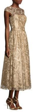 Theia Metallic Embroidered Midi Dress $795 thestylecure.com