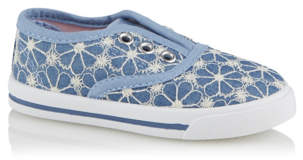 George Blue Floral Embroidered Canvas Shoes
