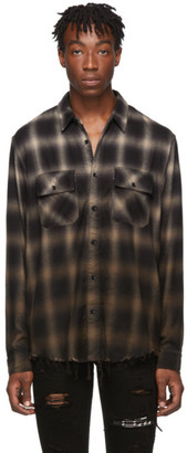 Amiri Khaki Plaid Ombre Shirt