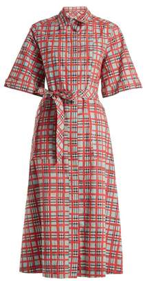 Burberry Carmen Checked Cotton Shirtdress - Womens - Red Multi