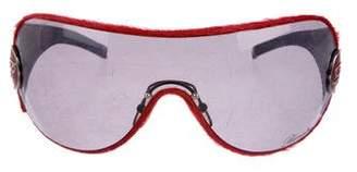 Blumarine Logo Oversize Ponyhair Shield Sunglasses