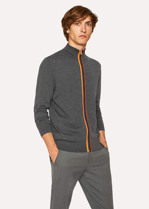Paul Smith Men's Dark Grey Marl Wool 'Artist Stripe' Zip-Through Cardigan