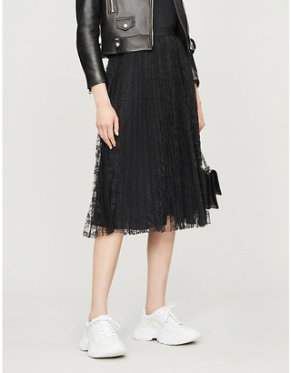 Pinko Rock and Roll 1 pleated floral-lace skirt