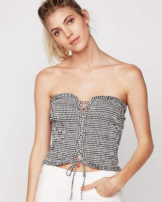 Express One Eleven Gingham Lace-Up Tube Top